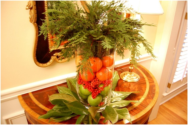 A Christmas Centerpiece with Fruits