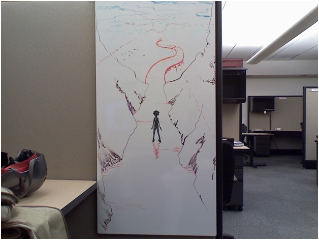 A Cubicle Whiteboard