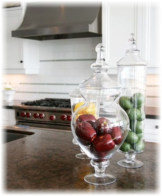 Fruits by Colors in Transparent Vases