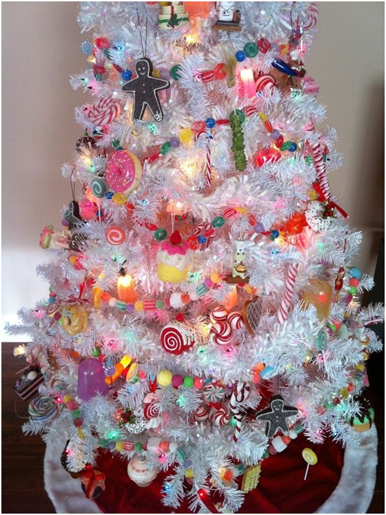 a christmas tree decorated with sweets