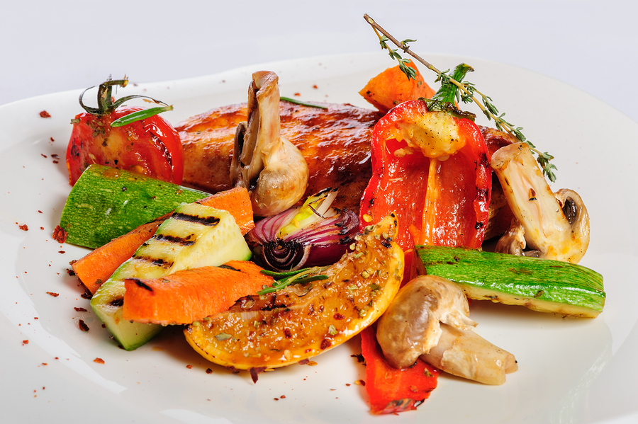 Undercooked Grilled Chicken with Vegetables