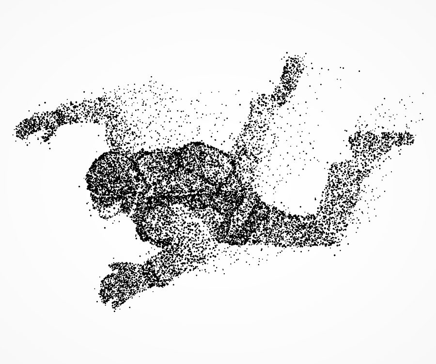 An Abstract Print of a Parachutist