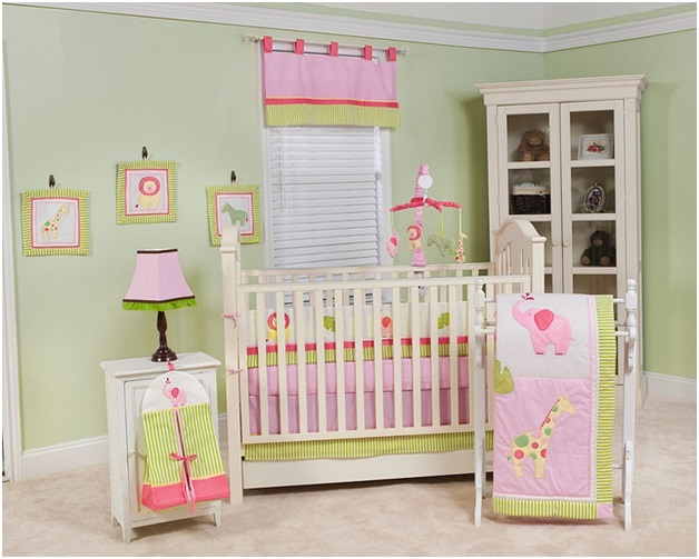 pink and green baby room decor