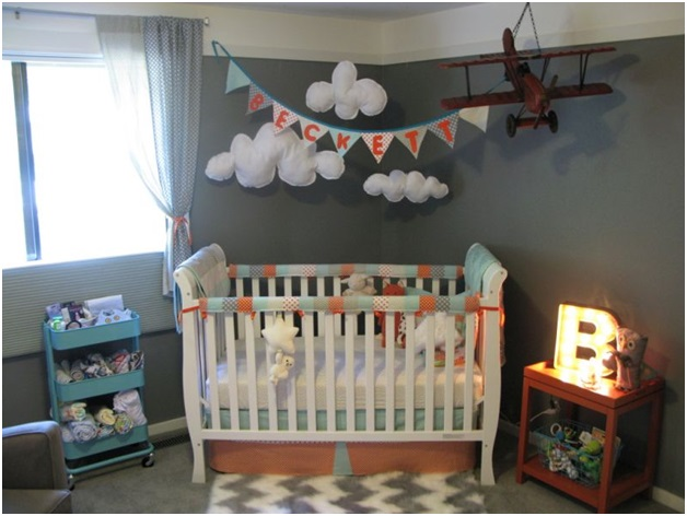 Sky and Planes Baby Boy Room