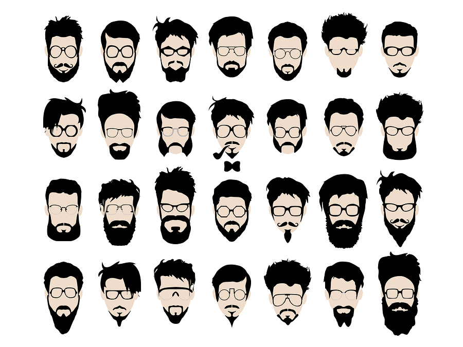 Vector set of hipster style haircut, glasses, beard, mustache Poster ...