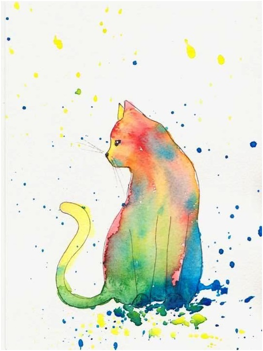 A Watercolor Cat Painting
