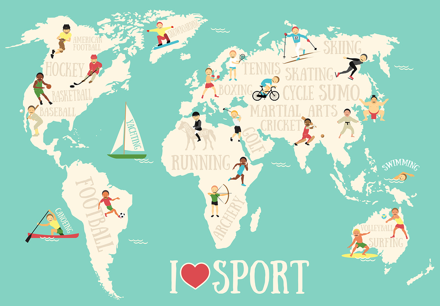 World map posters kinds styles and interesting designs a world sports map poster gumiabroncs Image collections