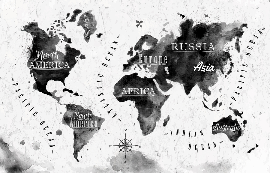 World map posters kinds styles and interesting designs an ink world map poster gumiabroncs Image collections