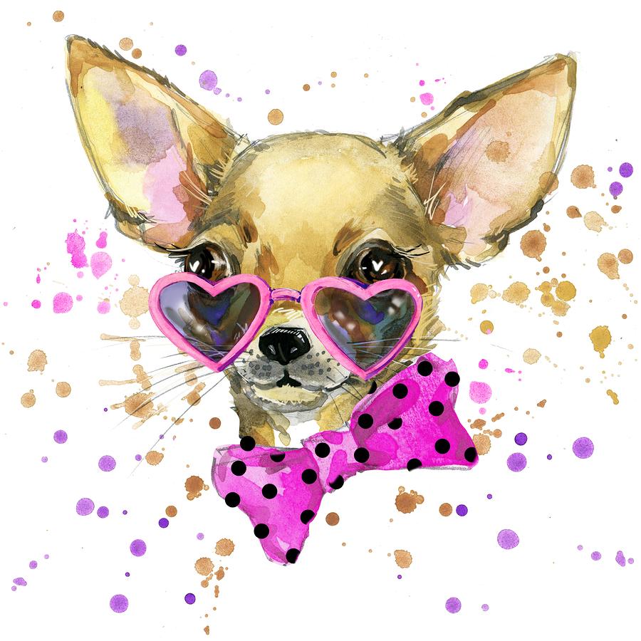 Black Dog Watercolor Chihuahua