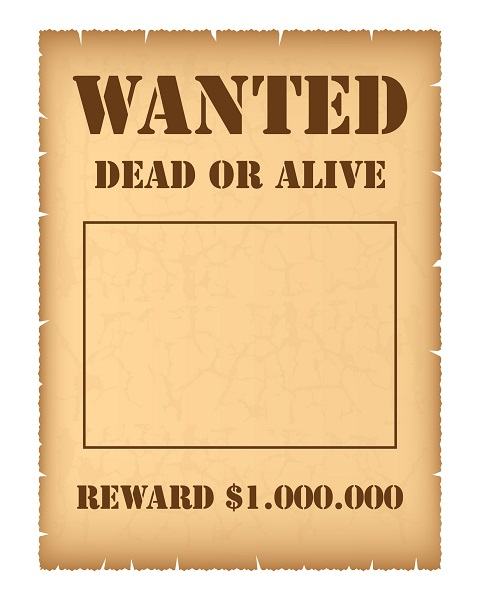 Reward Poster Template Sample Vector Eps Western Wanted Poster