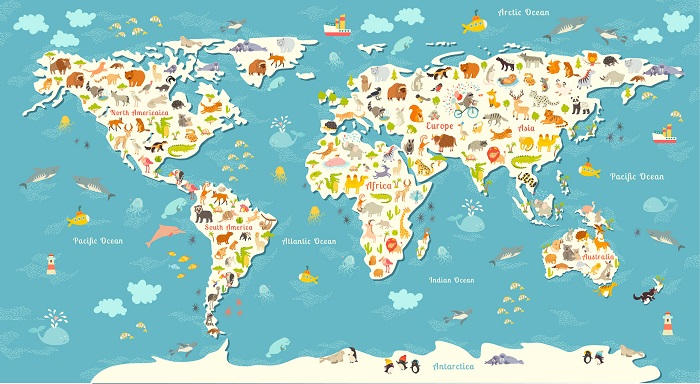 An Animals World Map for Children