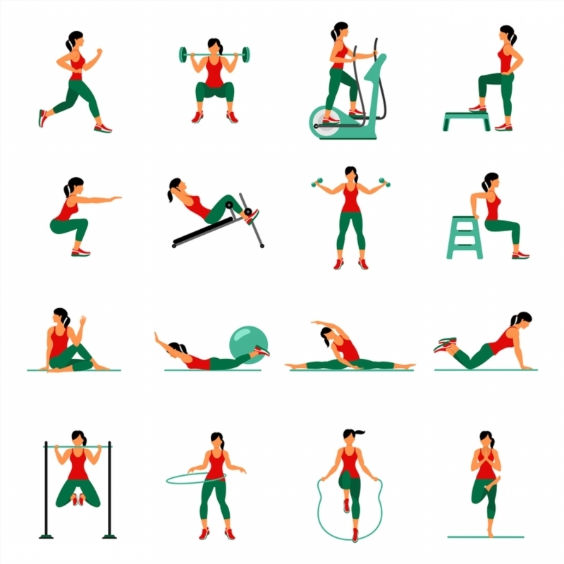 Poster of Fitness Aerobic and workout exercise in gym