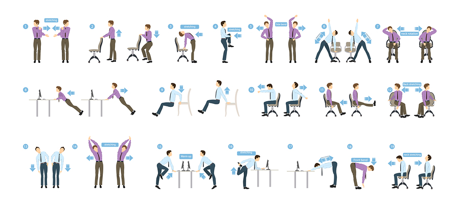 Poster of Sport exercises for office. Office yoga for tired employees with chair and table