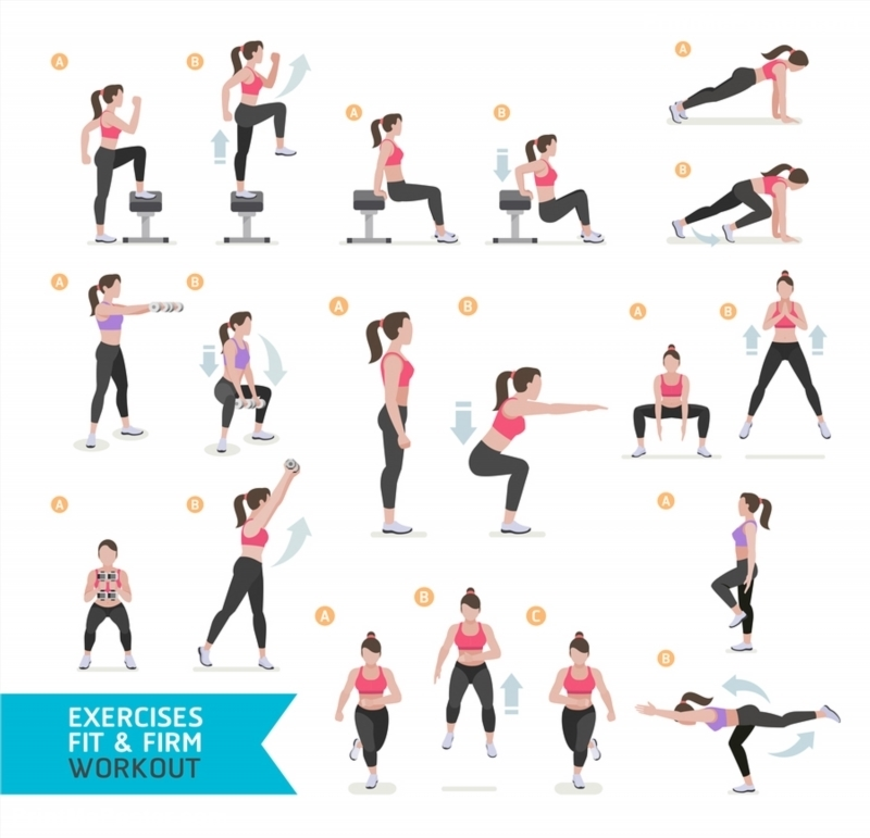 Poster of Woman workout fitness aerobic and exercises