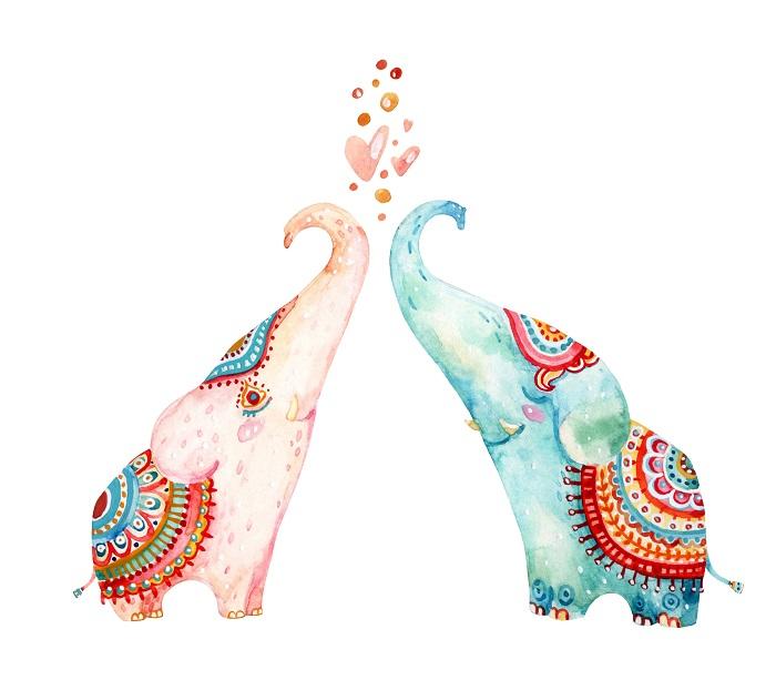 Cartoon Elephants Print