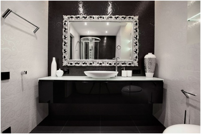 Silver Details in Black and White Bathroom
