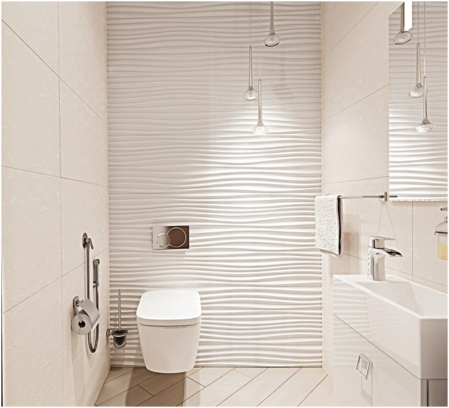 White Textured Bathroom Wall