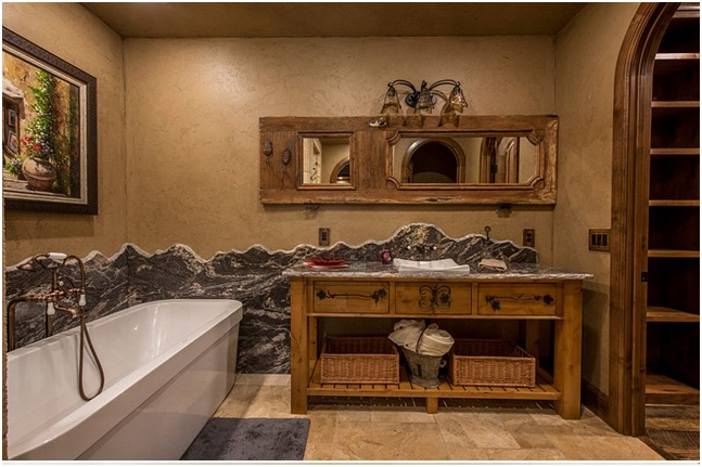 Wood Frames in Rustic Bathroom