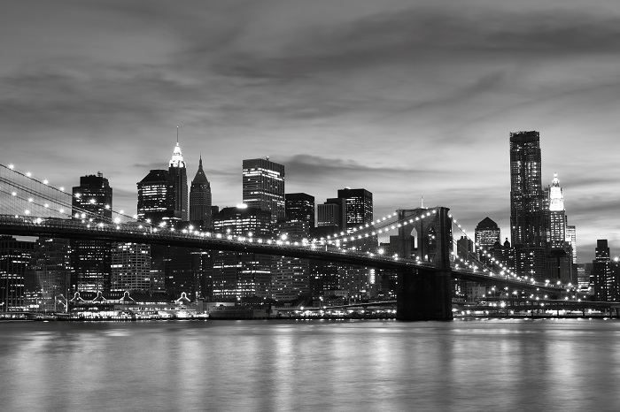 Brooklyn Bridge and Manhattan Skyline At Night, New York City POster
