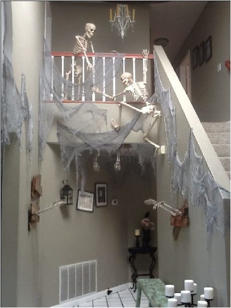 Halloween Decor with Skeletons