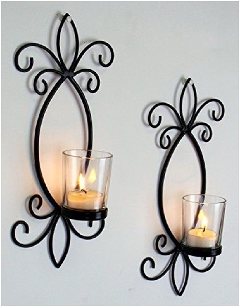 Wrought Iron Wall Decor: Review of Hosley Iron Tea Light Candle Wall ...
