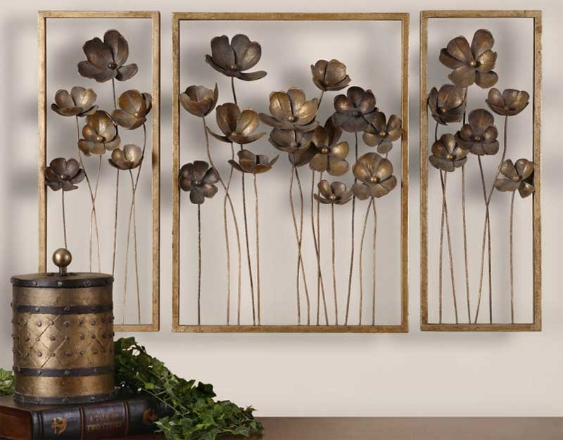 Metal Wall Art with Flowers