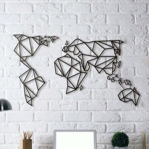 Metal World Map Decor