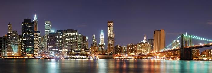 New York City Manhattan skyline panorama with Brooklyn Bridge Poster