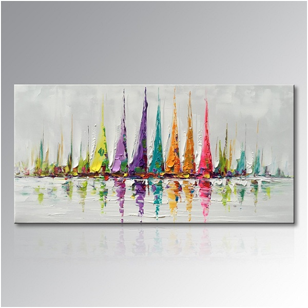 Sailboats Abstract Oil Painting