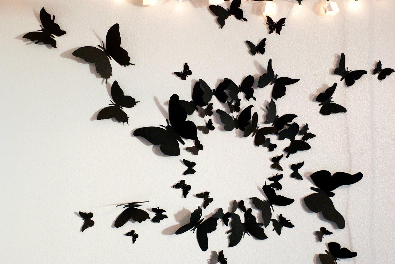 Бабочки на стену трафарет из бумаги фото