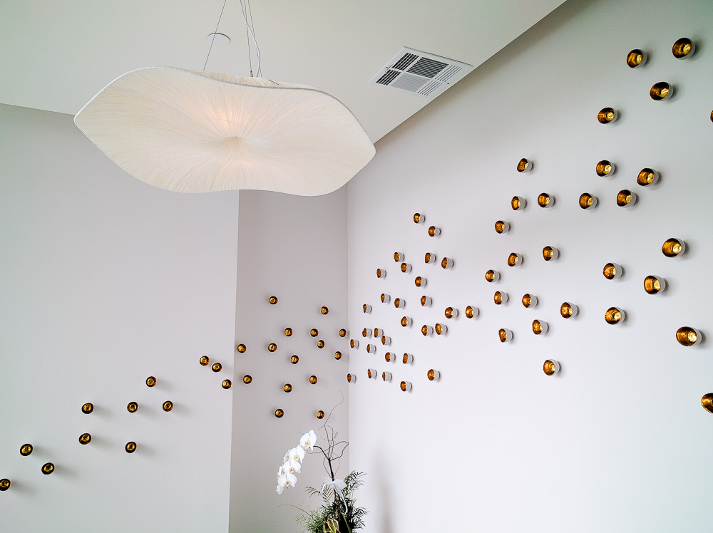 Scattered wall sculptures