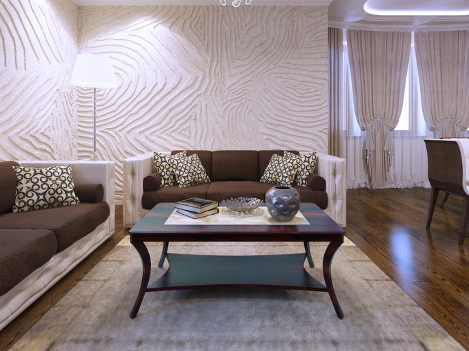 Textured 3D Walls in Living Room