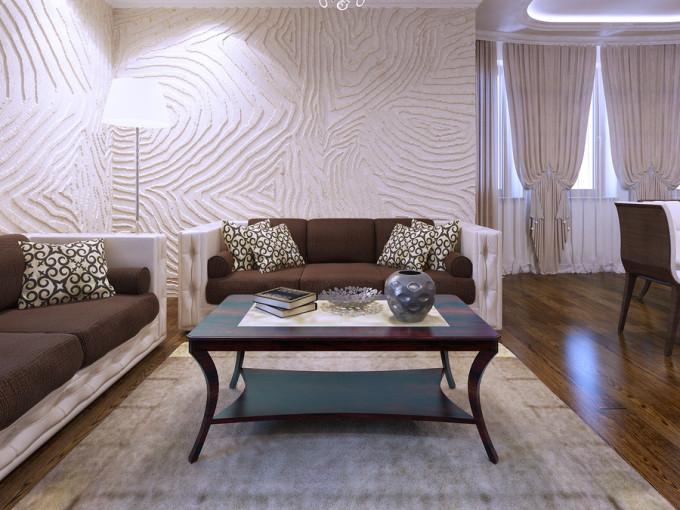 Textured 3D Walls In Living Room