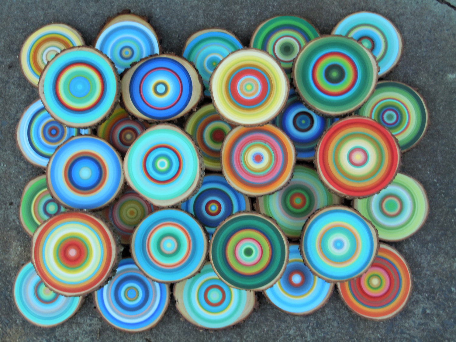 Colorful Art from Wood Slices