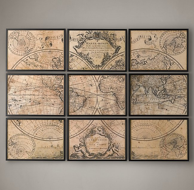 Vintage Map Split Art
