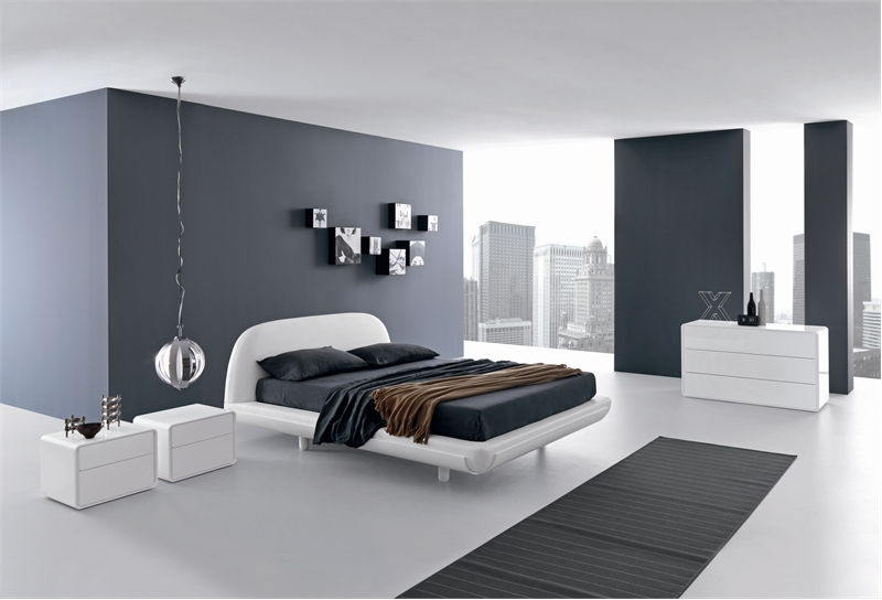 Gray and White Bedroom Design in High-Tech Style